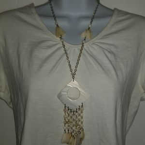 Necklace Shell Dangle Nautical White Gold Tone